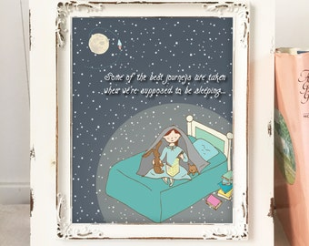 Little Girls Bedroom Decor, Night Reading, Girls bedroom Decor, Imaginative Adventures