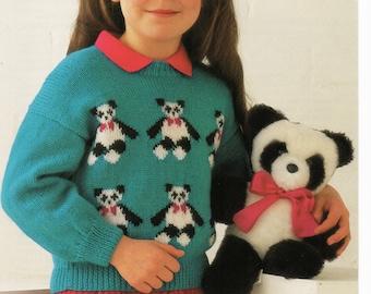 Knitting Pattern Panda Jumper : Kids panda jumper Etsy