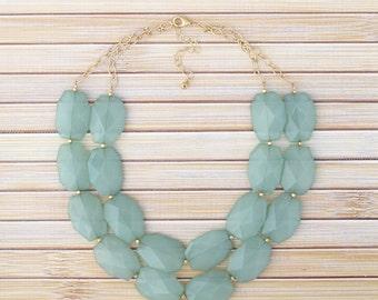 Mint Green Statement Necklace, Multi Layer Big Bold Bead Necklace, Mint Bib Necklace, Mint Bubble Necklace, Mint Bridesmaid Wedding Jewelry