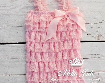 Pink Lace Romper, Lace Petti Romper, Baby Lace Romper, Girls Birthday Outfit, Newborn Photos, Take Me Home Outfit, Special Occasion Outfit