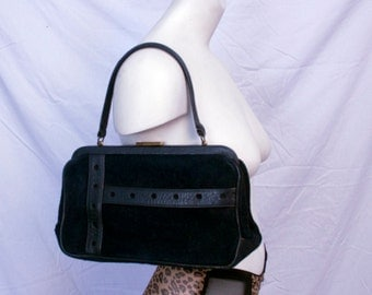 Vintage 60's Navy Suede/Leather Purse- Mint Condition