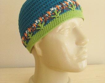 Boy Children Hat,  Crochet Hat,  Children Cotton Hat,  Boy Hat,  Blue Hat,  Autumn Hat  Skull Cap