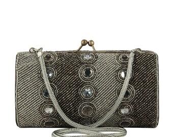 Silver Evening Bag, Beaded Clutch, Silver Clutch, Silver Bead Purse, Grey Evening Bag, Grey Satin Evening Bag, Grey Clutch, Silver  Bag
