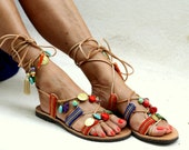 """Tie up  leather sandals decorated with semiprecious stones """"Frida"""" (handmade to order)"""