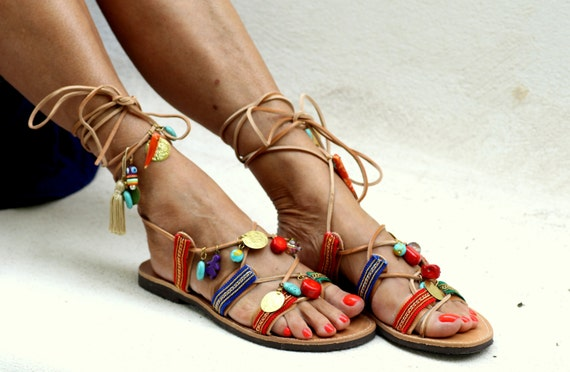 "Tie up  leather sandals decorated with semiprecious stones ""Frida"" (handmade to order)"
