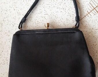 Vintage 1950's black satin evening bag Coblentz Original