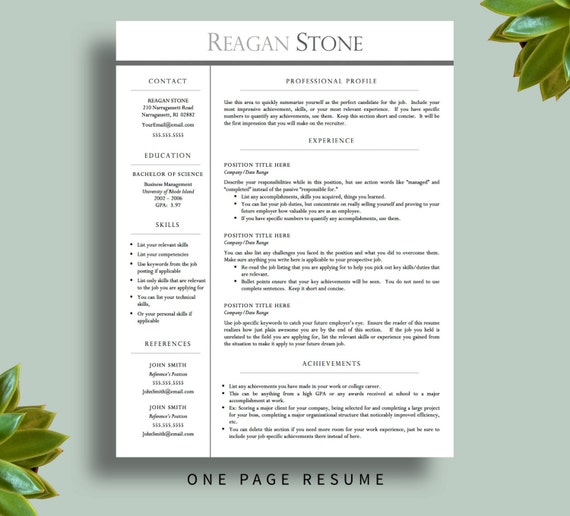 One Page Resume Template Free Download: Professional Resume Template For Word AND By PrintablesByLuLu