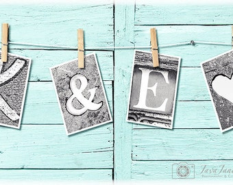 Personalized Wedding Banner | Names Spelled Out 4x6 Letter Prints | Black and White or Sepia Vintage Sign Photo Prop | Last Name Letter Art