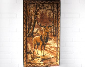 Vintage Deer Wall Hanging Tapestry - Rustic Stag Farmhouse Cabin Decor - Buck Barn Wedding Decor - Woodland Country Woven Small Rug