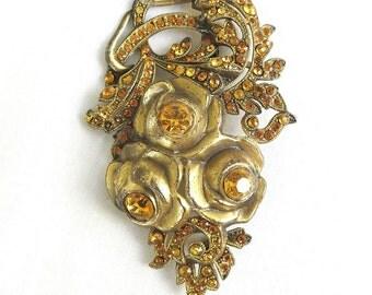 Vintage Antique 1890s to 1910 Art Nouveau Ormolu Roses & Topaz Rhinestones Brooch or Pin