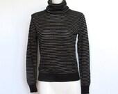 Vintage 1970s Black and Gold Metallic Thread Striped Turtleneck Sweater
