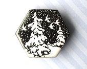 20% OFF SALE! Snow Birds Brooch. Glossy White. Black Porcelain. Hexagon. Ceramic. Pine Trees. Birds. Winter. Snow. Clay. Large Pin. Winter