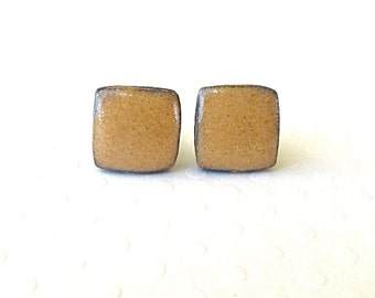 Square Ceramic Earrings. Curry. Black Porcelain. Amber Gold. Yellow Ochre. Clay. Topaz. Earth Tone. Surgical Steel. Studs. Cube. Minimalist