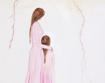 "Mother Daughter Painting Original Mother Art Motherhood Big Sister Girl Sisters Siblings Mom ""Matching Pajamas""  Leslie Allen Fine Art"