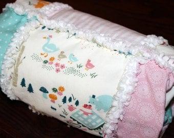 Baby, Girl, Organic, Rag, Quilt, Blanket, Pink, Blue, Cream, White, Woodland, Animals, Bear, Duck, Owl, Elephant, Cotton Front, Flannel Back