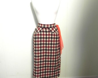 Vintage 1950s Skirt - 50s Orange and Brown Wool Check Pencil Skirt with scarf loop - on sale