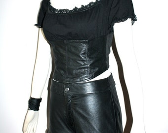 WILSONS MAXIMA Vintage Leather Outfit Black Corset Hot Pants - AUTHENTIC -