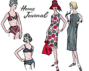 60s Shift Dress & Bikini Pattern Australian Home Journal 9157 Bombshell Bathing Suit Swimsuit Sewing pattern Bust 32 inches