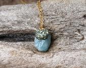 SALE // Blue Aquamarine Necklace - Raw Stone Jewelry - Aquamarine Jewelry - Rough Stone Necklace - Pyrite Boho Jewelry - Gypsy Necklace