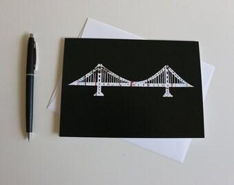 Golden Gate Bridge Greeting Card // Cutout Design // San Francisco Note Card