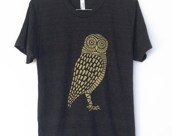SALE - Gold Owl Tri-Blend Black T-Shirt Mens Unisex