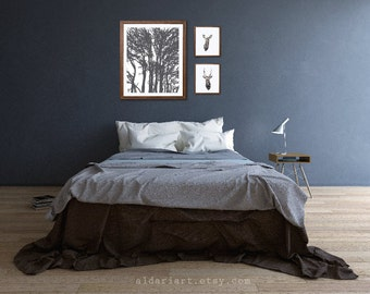 Modern Trees Art Print - Charcoal Grey - Rustic Decor - 16x20 Wall Art - Woodland Decor