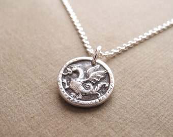 Tiny Dragon Necklace, Chinese Dragon, Little Winged Dragon, Fine Silver, Sterling Silver Chain, Made To Order