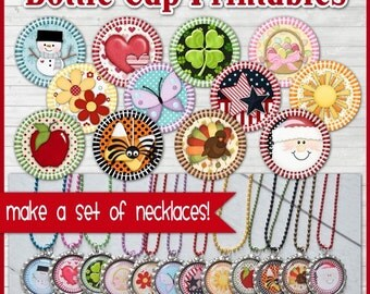Annual Bottle Cap Image Collection, Monthly Holiday INCHIE - Printable Instant Download