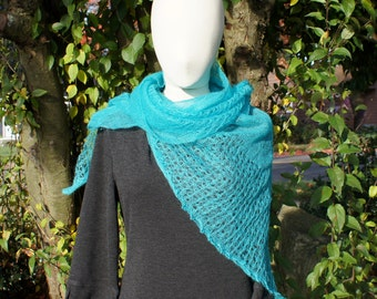 Liberty of London Teal Mohair Lacey Shawl