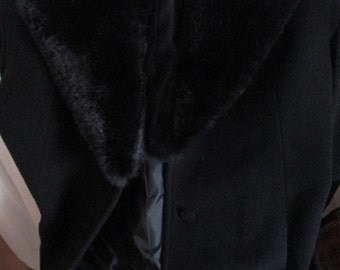 Vintage DKNY Womens Black Wool Coat Detachable Fur Collar Outerwear Winter Dress Coats YourFineHouse ShipsWorldwide