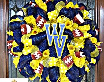 Deco Mesh West Virginia Fan Wreath, deco mesh wreath, wreath, football wreath