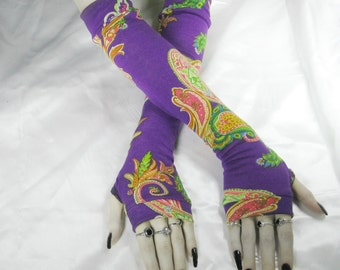 Purple Arm Warmers Fingerless gloves - Bardo Chham - Paisley gypsy bohemian tribal belly dance fusion dancing mehndi indian ethnic gothic