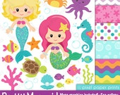 Pretty Mermaid - Clipart and Digital paper set