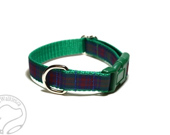 """Lindsay Clan Tartan Dog Collar - Green, Blue and Red Plaid - 3/4"""" (19mm) Wide Martingale or Side Release Buckle - Choice of style and size"""