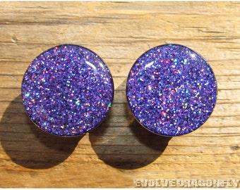 7/16, 11mm - READY TO SHIP - Grape Rush Glitter Plugs | 10% Off
