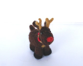 Needle Felted miniature Rudolph reindeer with a red nose Christmas decoration