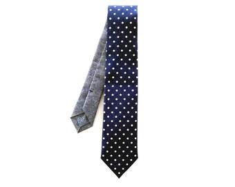 Navy Dots Wedding Necktie, Polka Dot Tie