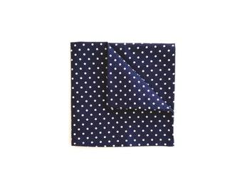 Navy Dots Wedding Pocket square, Blue Polka Dot