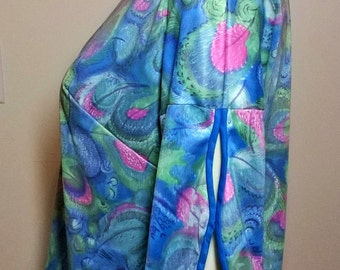 Vanity Fair-Peacock Pajama Party-1960s Silky Royal Blue Nylon Bottoms -Ladies Sz 36- Med/Lg