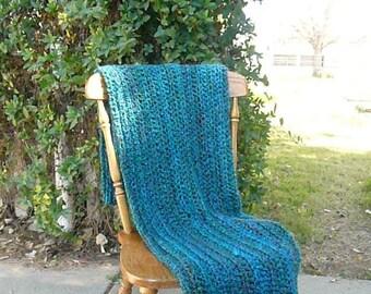 Teal Throw Blanket / Crochet Throw Blanket,  Blue Throw Blanket