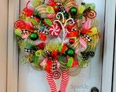 Elf Wreath - Christmas Deco Mesh Wreath - Holiday Decoration - Christmas Decor