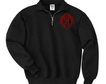 Monogrammed pull over sweatshirt  - quarter zip with collar and monogram