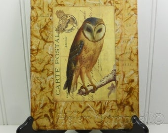 Barn Owl Collage Painting, Carte Postale Woodland Owl Beeswax Collage Brown Owl