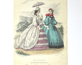 Antique Victorian 1863 fashion print from Dutch fashion magazine hand colored engraving