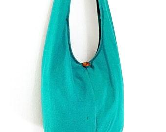 Women bag Handbags Bleached Cotton bag Hippie bag Hobo Boho bag Shoulder bag Sling bag Messenger bag Tote bag Crossbody bag Purse Green Teal