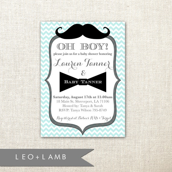 Mustache Invitation Bow Tie Invitation Baby Shower