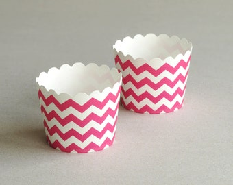 Hot Pink Chevron Baking Cups with Scalloped Tops (set of 12) - Great mix & match