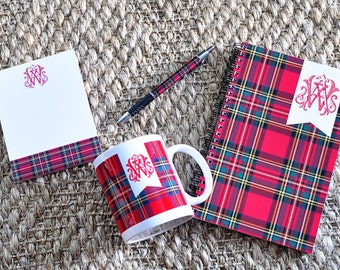 Monogrammed Personalized Tartan Plaid Notepad