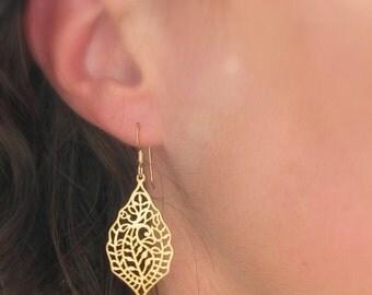 Matte Gold Moroccan Earrings, 14K Gold Filigree Earring - Gold Filled Boho Earrings, Large Filigree, Asian Earrings, Metal Teardrops, Lace