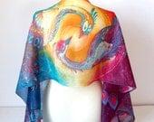 Phoenix scarf - silk scarf phoenix - yin yang scarf - hand painted scarves - birds scarf - long scarf foulard handpainted scarf  art nouveau
